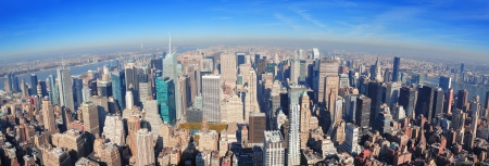 New York City skyscrapers in midtown Manhattan aerial panorama view in the day