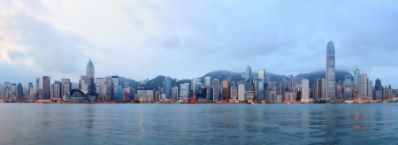 hong kong people: Hong Kong skyline in the morning over Victoria Harbour