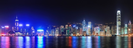 Hong Kong city skyline at night over Victoria Harbor with clear sky and urban skyscrapers
