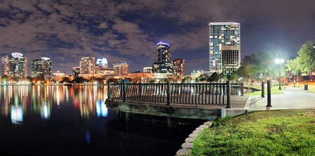 Orlando Lake Eola panorama with office buildings at night Stock Photo - 14361082