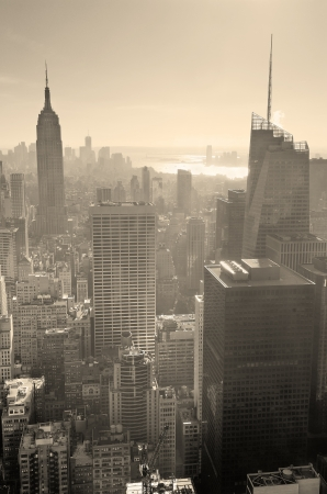 new york: New York City skyline black and white in midtown Manhattan aerial panorama view in the day. Stock Photo