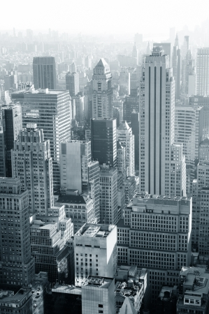 Urban architecture in black and white from New York City Manhattan.
