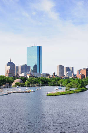 Boston back bay with sailing boat and urban building city skyline in the morning.  Stock Photo - 14444519