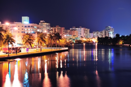 south miami: Miami south beach street view with water reflections at night