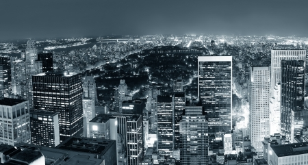 New York City Central Park panorama aerial view black and white at night Stock Photo - 14451987