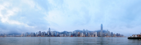 hong kong harbour: Hong Kong skyline in the morning over Victoria Harbour