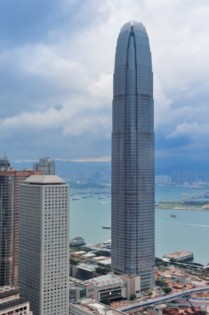 ifc: HONG KONG, CHINA - APR 23: The International Finance Centre with city skyline on April 23, 2012 in Hong Kong, China. It is the 2nd in Hong Kong, 4th in China and 8th tallest in the world. Editorial