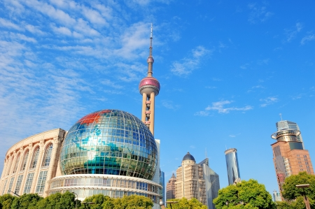 pudong district: Shanghai urban architecture with blue sky
