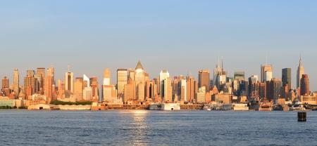 weehawken: New York City Manhattan midtown skyline panorama at sunset  Editorial