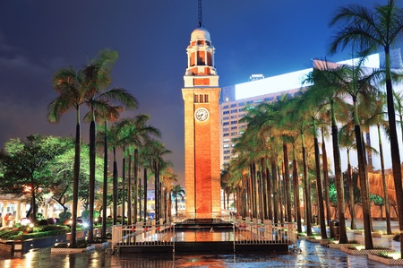 hong kong night: Clock tower in Hong Kong at night