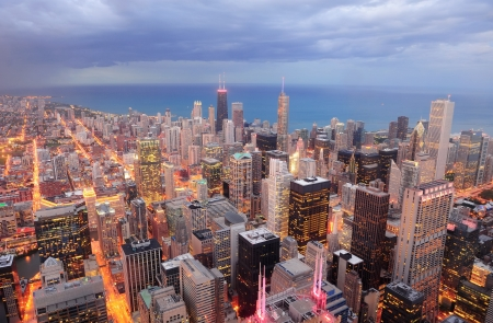 Chicago downtown aerial view at dusk with skyscrapers and city skyline at Michigan lakefront.  Stock Photo - 14803857