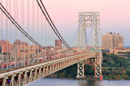 George Washington Bridge at sunset over Hudson River. photo