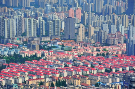 pudong district: Shanghai city aerial view with urban architecture.