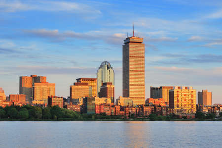 Boston city skyline with Prudential Tower and urban skyscrapers over Charles River. photo