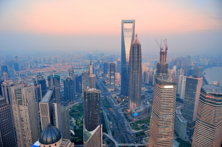 shanghai pudong skyline: Shanghai aerial view with urban architecture and sunset Stock Photo