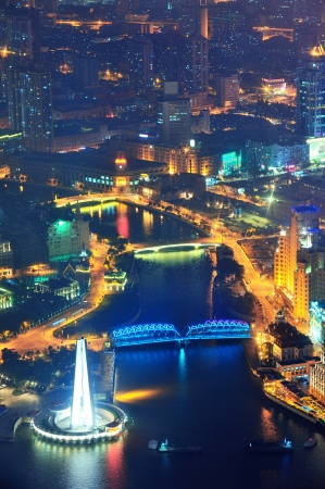 Shanghai aerial view with urban architecture at dusk photo