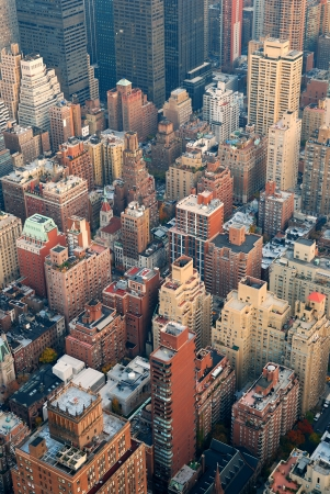 New York City Manhattan skyline aerial view with street and skyscrapers at sunset. photo