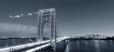 George Washington Bridge black and white over Hudson River  photo