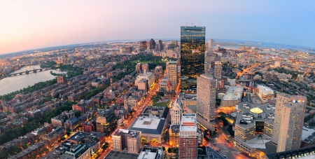 Urban city aerial panorama view  Boston aerial view with skyscrapers at sunset with city downtown skyline Stock Photo - 14803766