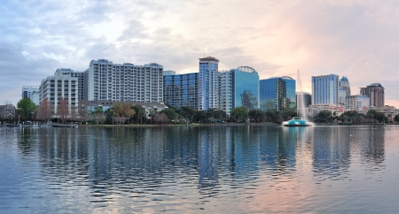 lake district: Orlando downtown Lake Eola panorama with urban buildings and reflection Stock Photo
