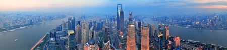 pudong district: Shanghai aerial view with urban architecture and sunset panorama