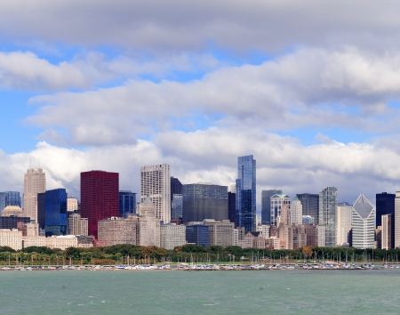 Chicago skyline panorama with skyscrapers over Lake Michigan with cloudy blue sky. Stock Photo - 14803603