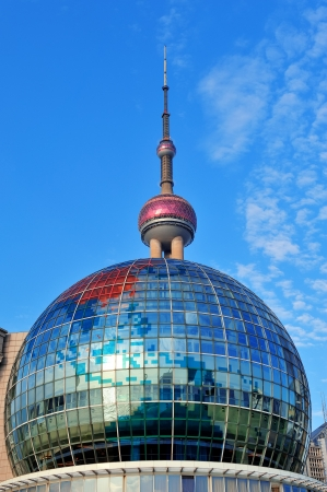 Shanghai urban architecture with blue sky