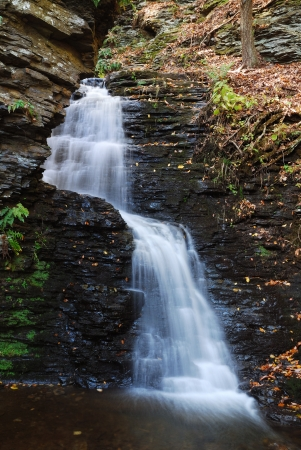 Waterfall in mountain with Autumn foliage and woods over rocks. photo
