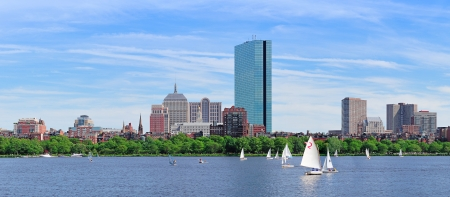 Boston Charles River panorama with urban city skyline Hancock building and boats with blue sky. Stock Photo - 15383680
