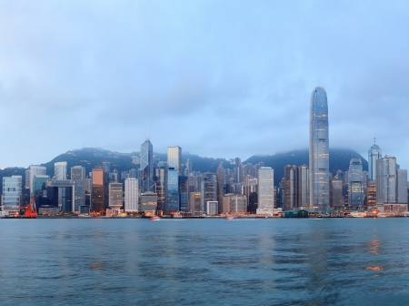 Hong Kong skyline panorama in the morning over Victoria Harbour