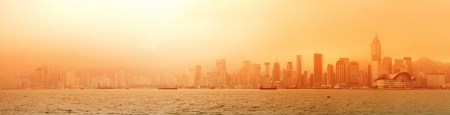 Hong Kong Victoria Harbour sunrise with red color Stock Photo - 15381907