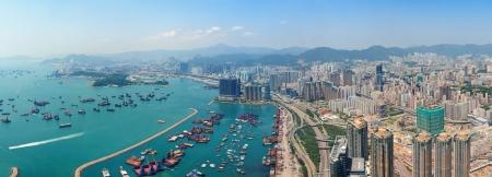 하루에 홍콩에있는 도시 건축 스톡 콘텐츠