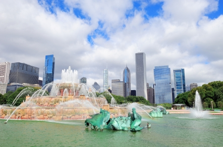 Chicago skyline panorama with skyscrapers and Buckingham fountain in Grant Park in the morning. photo