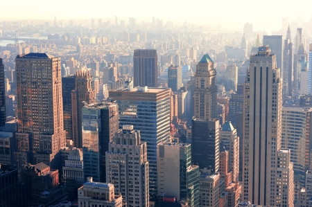skyscraper: New York City skyscrapers in midtown Manhattan aerial panorama view in the day.