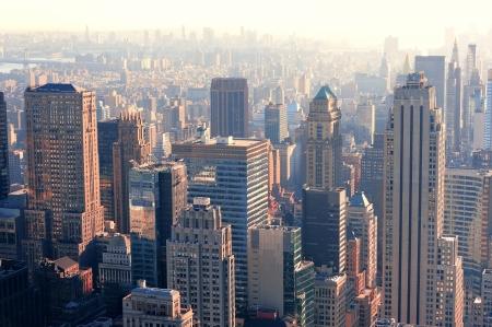 midtown manhattan: New York City skyscrapers in midtown Manhattan aerial panorama view in the day.