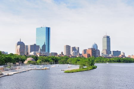 Boston back bay with sailing boat and urban building city skyline in the morning.  Stock Photo - 15654150
