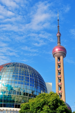 excluding: SHANGHAI, CHINA - MAY 27: Oriental Pearl Tower over river on May 27, 2012 in Shanghai, China. The tower was the tallest structure in China excluding Taiwan from 1994�C2007 and the landmark of Shanghai. Editorial