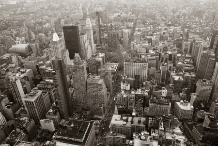 New York City Manhattan skyline aerial view black and white with skyscrapers and street. Stock Photo - 15669808