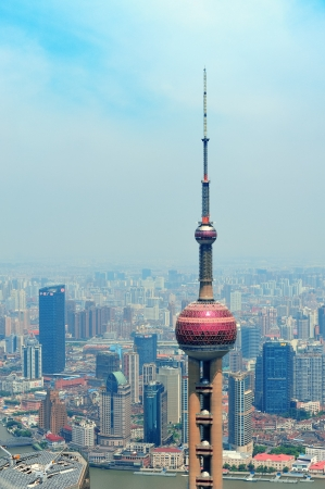SHANGHAI, CHINA - MAY 28: Oriental Pearl Tower over river on May 28, 2012 in Shanghai, China. The tower was the tallest structure in China excluding Taiwan from 1994�C2007 and the landmark of Shanghai.