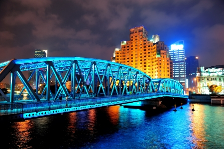 promenade: Shanghai Waibaidu bridge at night with colorful light over river