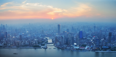 pudong district: Shanghai aerial view with urban architecture and sunset Stock Photo