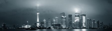 Shanghai skyline panorama in black and white at night