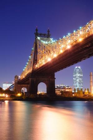 queensboro bridge: Queensboro Bridge over New York City East River at dusk viewed from midtown Manhattan.