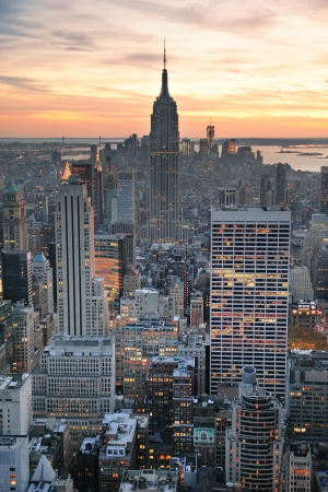 usa cityscape: New York City skyline aerial view at sunset with colorful cloud and skyscrapers of midtown Manhattan. Stock Photo