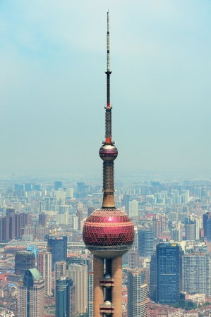 excluding: SHANGHAI, CHINA - MAY 28: Oriental Pearl Tower over river on May 28, 2012 in Shanghai, China. The tower was the tallest structure in China excluding Taiwan from 1994�C2007 and the landmark of Shanghai.
