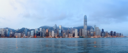 Hong Kong skyline in the morning over Victoria Harbour
