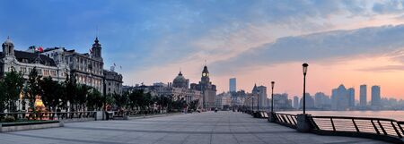 shanghai china: Shanghai Waitan morning panorama with historic buildings over river
