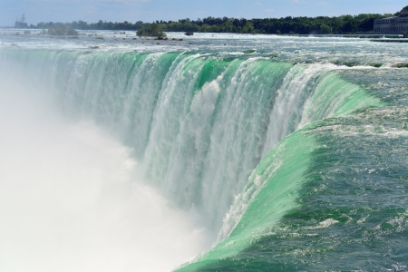 Horseshoe Falls closeup in the day with mist
