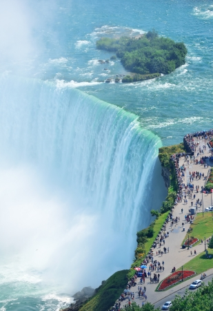 niagara river: Horseshoe Falls aerial view in the day with mist from Niagara Falls Stock Photo