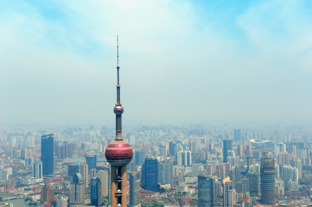 excluding: SHANGHAI, CHINA - MAY 28: Oriental Pearl Tower over river on May 28, 2012 in Shanghai, China. The tower was the tallest structure in China excluding Taiwan from 1994,C2007 and the landmark of Shanghai.